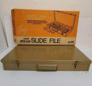 """Vintage Logan Metal Deluxe Slide File Box 110 2""""x2"""" 35mm Slides Holds 300"""