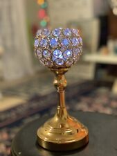 Crystal Ball Candle Holder 9.5x 4 Inches