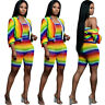 Women Strapless Colorful Stripes Short Jumpsuit + Coat Casual Club Outfits 2pc