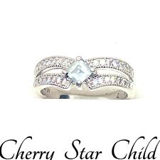 Solid sterling 925 silver band set with faceted white stones & blue aquamarine 7
