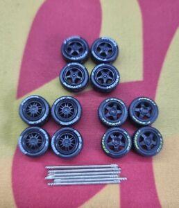 1/64 Rubber Wheels 3 Pack Real Riders Hot Wheels Matchbox Ford Mini Nissan b1
