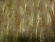 "METALLIC GOLD AUTUMN WHEAT DESIGN ON JUTE BURLAP FABRIC - 40"" x 48"""