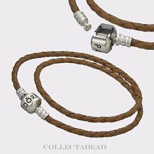 "Pandora Silver Double Brown Leather Cord 16.1"" Bracelet 590705CBN-D3"