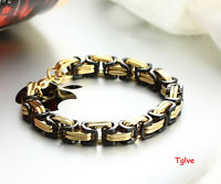 """Stainless Steel Cool Mens Byzantine 8mm Black Gold Suqare Tone Bracelet 9"""""""
