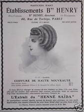 PUBLICITÉ POSTICHES D'ART B'' HENRY À PARIS COIFFURE DE HAUTE NOUVEAUTÉ