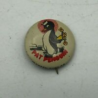 "Vtg PAT PENGUIN Sailor Cap Flowers Behind Back 3/4"" Pin Pinback Green Duck  S4"