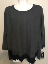 (NWT) Style&Co Women's Plus Size 2X Gray High-Low Long Sleeve Crochet Trim Top