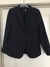 NWT BROOKS BROTHERS 346 LADIES BLAZER- Size 10 Black- Pinstripe Lightweight Wool