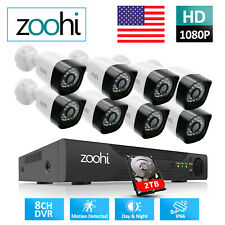 Zoohi Home Cctv Security Camera System Outdoor 1080P 4/8Ch 1/2Tb Hdd Wired Ir Hd