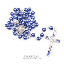 Catholic Rosary Necklace Saint Benedict Medal and Cross Crucifix  ROSGPSB-BLU