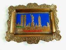 Vintage Souvenir New York City Copper Plaque Statue of Liberty Twin Towers RARE