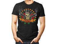 Skull, Guns and Roses N Tee unisex T Shirt Band Rock Music black gift women men