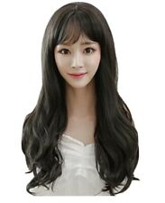 65cm Long Curly Wavy Black Wig With Bangs, Korean Style
