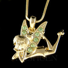 w Swarovski Crystal Gold Tone Green Tinkerbell Tinker Bell Fairy Angel Necklace