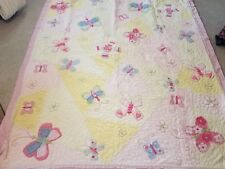 Pottery Barn Kids 64 in x 86 in butterfly quilt embroidered excellent