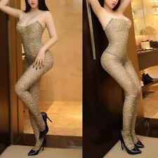 Women Sexy Leopard Bodystockings Sheer Mesh Bodysuit Nightwear Clubwear Lingerie