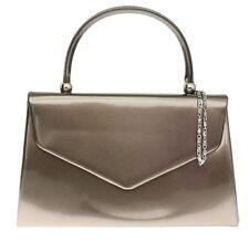 New Patent Top Handle Clutch Bag Glossy Elegant Evening Womens Designer Fashion