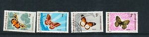 French Upper Volta - Four Butterfly & Moth Stamps (used) - 1970's