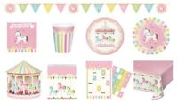 CAROUSEL BABY SHOWER Party Range NEW Tableware Balloons & Decorations {CP}