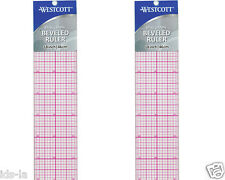 "Westcott B-85 18"" X 2"" 8ths Graph Beveled Plastic Clear Ruler (2 Pieces)"
