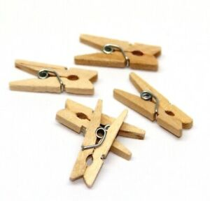 100pcs Mini Wooden Pegs 2.5cm Tiny Craft Wedding Hanging Photo Canape Labels