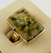 Rhyolite, rainforest jasper cabochon gemstone size 8 ring chakra