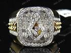18K Yellow Gold Finish Mens XL Diamond Masonic Logo Fashion Pinky Ring 1.20 CT