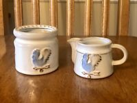 Red Clay White Glaze Creamer & Candle Warming Stand Blue Rooster Weather Vane