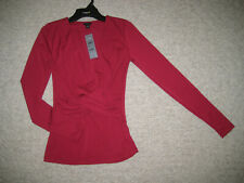 NWT WOMENS $50 ANN TAYLOR LONG SLEEVE V-NECK DARK FUCHSIA SHIRT SIZE XXSP