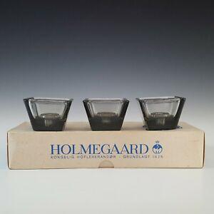 BOXED Holmegaard Set of 3 Smokey Grey Glass Candlesticks