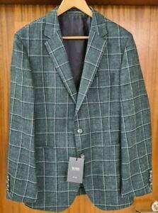 HUGO BOSS  Sakko Gr. 48 grün kariert tailored gewoben in Italien NEUWARE
