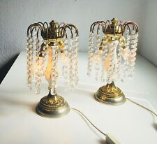 ✨ *2* PAIR Antique Table Boudoir Lamps Bronze Waterfall Crystal Chandelier ✨