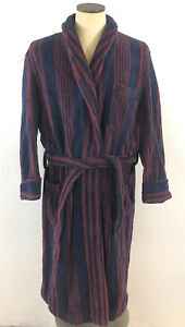 VTG Brooks Brothers Mens Striped Heavy Terry Cloth Robe Sz L Navy Blue / Maroon