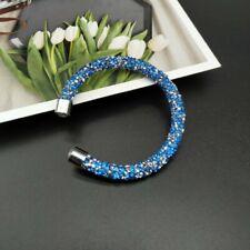 Blue Crystal Dust Encrusted Bracelet / Bangle Made With Swarovski Elements