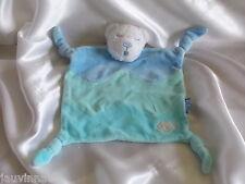 Doudou ours bleu/vert, Lagon, yeux dormeurs, broderie poisson, Kaloo