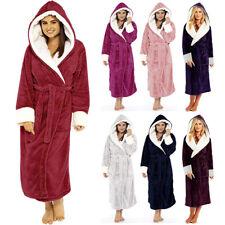 Women Winter Hooded Robe Coat Plush Lengthened Shawl Bathrobe Long Sleeved  US