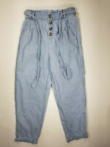 American Eagle Exposed Buttons Mom Chambray Jeans Paper Bag High Waist Light S