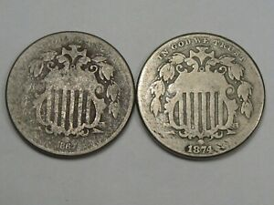 2 US Shield Nickels: 1867 & 1874.  #27
