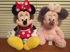 "DISNEYLAND FUZZY MINNIE MOUSE 10"" RATTLE & Disney Park 13"" Plush (AO)"