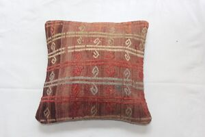 Handmade Turkish kilim cushion cover, multicoloured spiral design, 44x44cm
