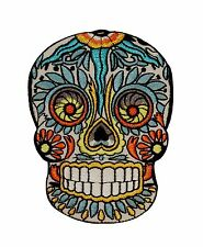 Feathered Sugar Skull Patch Mexican Dia De Muertos Candy Head Iron-On Applique