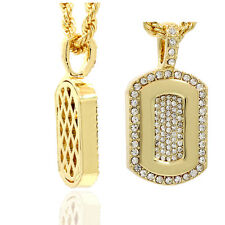 """Mens 16K Gold Plated Cz Dog Tag HIp Hop Fashion Pendant  With 4mm/24"""" Rope Chain"""
