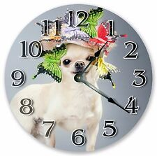"10.5"" CHIHUAHUA AND BUTTERFLIES CLOCK - Large 10.5"" Wall Clock Home Décor - 3072"