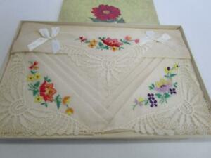 Vintage Hand Embroidered Maidera Linen Lace Boxed Hankie Set