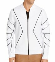 INC Mens Jacket White Black Size Medium M Piped Zip-Front Knit Pockets $79- #310