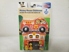 Melissa & Doug Wooden Fire Truck Fire Station Mickey Mouse Clubhouse 2 Piece New