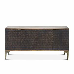 "66"" L Sideboard Solid Mango Wood with Reclaimed Iron Modern Two Tone"
