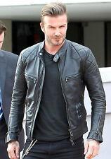 David Beckham Black Motorcycle Genuine Real Leather Biker Jacket