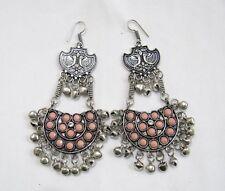 Beautiful Afghani Earrings Silver Oxidized Afghan Pink Chalcedony Earrings