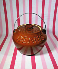 FaB Vintage 1950's Brownstone Ware Pottery Baked Bean Soup Pot Metal Handle